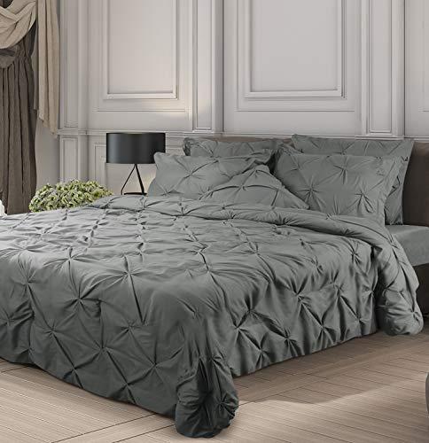Utopia Bedding 7 Piece Pintuck Comforter Queen Set - Grey