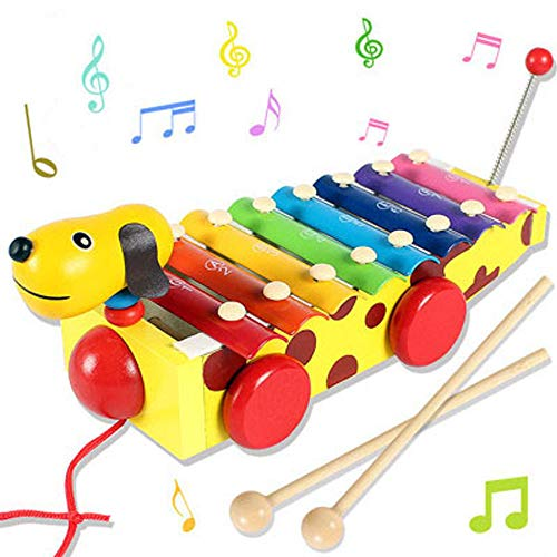 F.&.D Xylophone for Kids Wooden Pull Toy with Clear Sounding Metal Keys and 2 Mallets, Perfectly Tuned Instrument for Toddlers, Learning Resource Gifts for ()