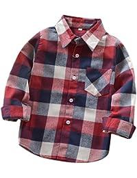 Little Boys' Long Sleeve Button Down Plaid Flannel Shirt