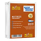 Queen Waterproof Hypoallergenic Mattress Protector: Easy-Zip Stretch-To-Fit Non-Stick Microfiber Mattress Cover – Guards Against Fluids, Allergens, Dust Mites, Bed Bugs – 5-Year Warranty (Queen)