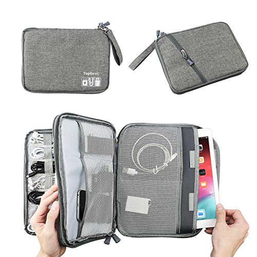 Electronics Travel Cable Organizer Bag Case - Electronic Accessories Tech Organizer Storage Pouch for USB Cords Cables Chargers and Other Men Tech Accessory Gadgets (Classic-Grey, L)