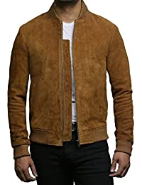 Mens Leather Bomber Jacket Exclusive Goat Suede Varsity