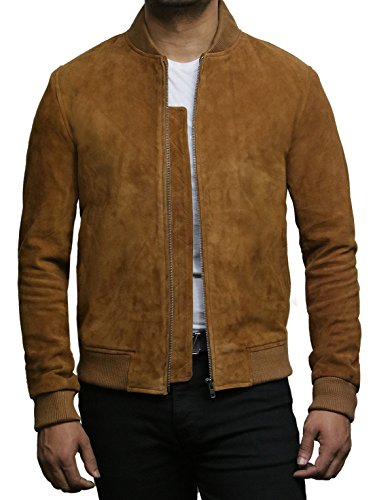 Brandslock Mens Leather Bomber Jacket Exclusive Goat Suede Varsity (2XL, Tan) (Goat Suede)