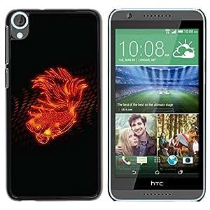 TECHCASE**Cubierta de la caja de protección la piel dura para el ** HTC Desire 820 ** Fire Flower Abstract Flame Black Spots