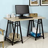 Haotian Wall-mounted Drop-leaf Table, Folding Kitchen & Dining Table Desk, Solid Wood Children Table,Home Office Table Desk Workstation Computer Desk with Storage Shelves, Trestle Desk (FWT32-N)