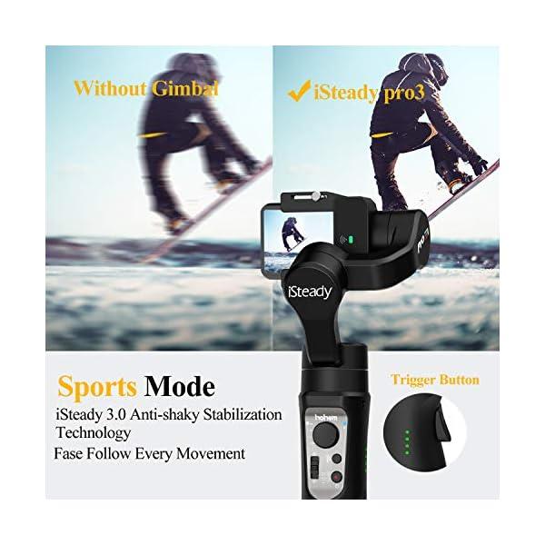 Hohem iSteady Pro 3 Gimbal per Gopro Hero 8, Stabilizzatore per Gopro,Compatibile per Fotocamera GoPro 8 7 6 5 4 3, DJI Osmo, Sony RX0, Yi Cam 4K, SJCAM, Splash Proof, Controllo WiFi, 12 Ore di Lavoro 4 spesavip