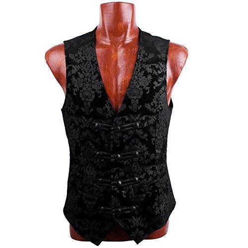 Gothic Vest Designer Stylish Victorian Waistcoat Casual Black Victorian Vagabond Steampunk Patterned Velvet