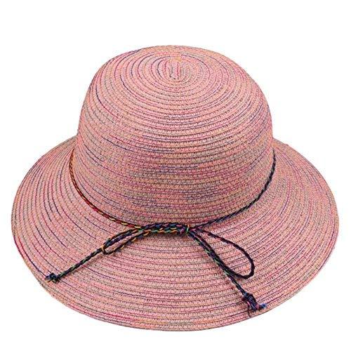 6854d5de5b7 Amazon.com  Demana Women Sun Hat Narrow Brim Rainbow Striped Ribbon ...