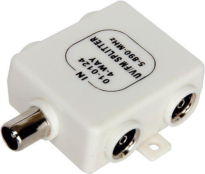 RF Divisor TDT TV 4 Manera UV FM VHF Aéreo 1 Entrada a 4 ...