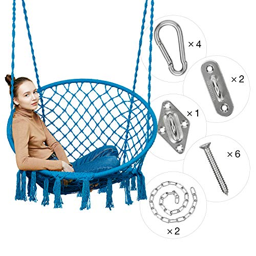 Greenstell Hammock Chair Macrame Swing with Hanging Kits, Hanging Cotton Rope Swing Chair, Comfortable Sturdy Hanging Chairs for Indoor, Outdoor, Home, Patio, Yard, Garden, 330LBS Capacity (Blue) (Bedroom Unique Chairs)