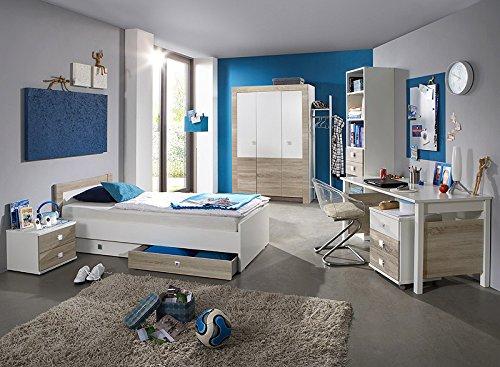 9tlg Kinderzimmer Eiche sägerau weiß Kleiderschrank Jugendbett Schreibtisch