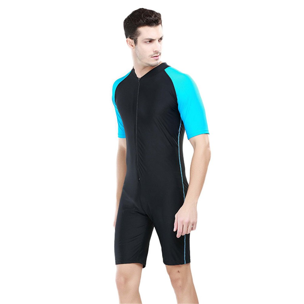 Fortuning's JDS® New fashion design UV protective one piece short-sleeve swimwear for men