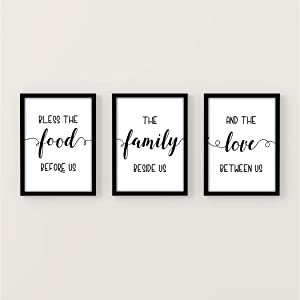 Bless The Food Before Us Family Wall Art Sign for Living Room, Kitchen, Dining Decor | Bible Verse Wall Art |New Home Housewarming Gift | Farmhouse Unframed Wall Art Print - 8.5 X 11 Inch (3 pcs)