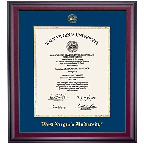 West Virginia WVU Mountaineers Diploma Frame Ivory Maroon Matting Embossed Seal by Campus Linens