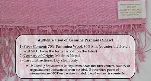 Cashmere Pashmina Group: Solid Pashmina Shawl, Scarf, Wrap & Stole (Large size) Deep Coral