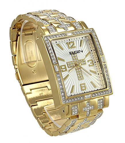 - Elgin FG9051 Men's Oversized Glitz Cross Watch, Brass & Goldtone Metal