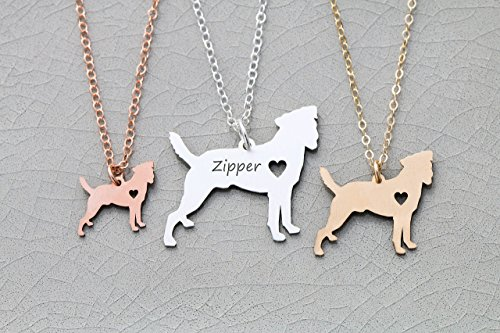 Jack Russell Dog Necklace - Parson Terrier - IBD - Personalize with Name or Date - Choose Chain Length - Pendant Size Options - 935 Sterling Silver 14K Rose Gold Filled - Ships in 1 Business Day