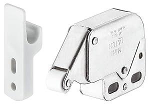 Hafele 245.54.701 Mini-Latch, steel, nickel plated, plastic, white (1 pc) by Hafele America