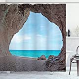 Ambesonne Natural Cave Shower Curtain, Dreamy Cara Luna Cave by The Ocean Tropical Beach in Mediterranean Seashore, Cloth Fabric Bathroom Decor Set with Hooks, 75' Long, Cream Blue