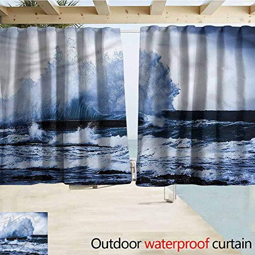 MaryMunger Outdoor Patio Curtains Wave Seashore Strong Tide Typhoon Rod Pocket Curtain Panels W72x72L Inches