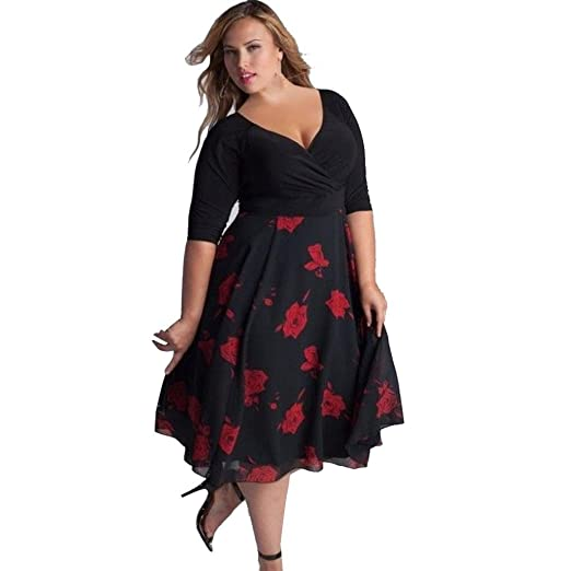 Mrcy Women Dress Plus Size Sexy V Neck Floral Maxi Evening Party