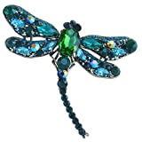 Sindary 3.74'' Pretty Insect Dragonfly Brooch Pin Pendant Rhinestone Crystal (Gold-Tone Green)