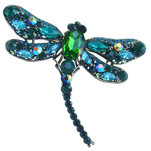 "Sindary 3.74"" Pretty Insect Dragonfly Brooch Pin Pendant Rhinestone Crystal (Gold-Tone Green)"