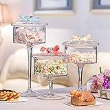 Dust-proof Glass Cake Stand Dessert Candy Jars Transparent Lid Storage Bottles 3pcs European High Wedding Decoration Food Jars
