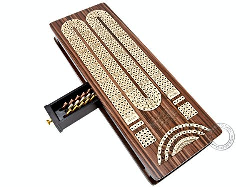 House of Cribbage - Continuous Cribbage Board / Box inlaid in Rosewood / Maple : 4 Track - Sliding Lid with Score marking fields for Skunks, Corners and Won Games