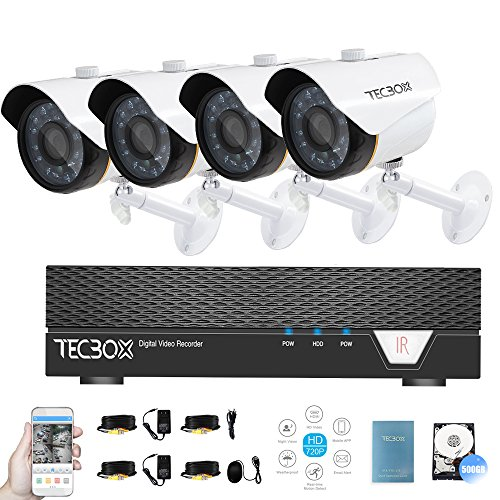Tecbox Security Video Camera System 720p 4CH 500G DVR with 4 Weatherproof Surveillance Cameras Day and Night CCTV Camera System Motion Alert Video Camera Kit