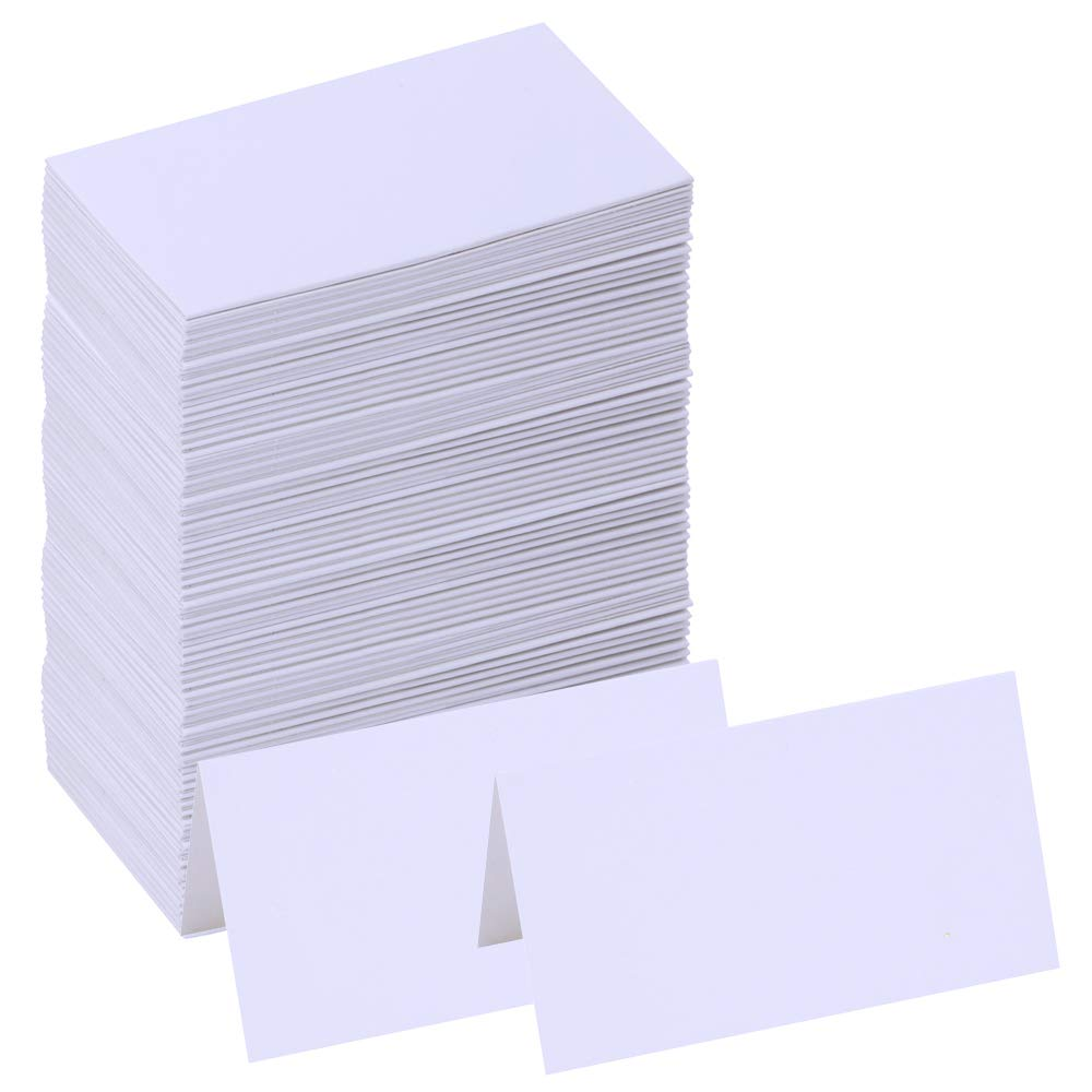 "Supla 100 Pcs Table Name Place Cards Blank Place Cards White Table Tent Cards Table Name Tags Table Card Seating Cards -3.5"" x 2""(LxW) for Wedding Baby Showers Christmas Dinner Party"