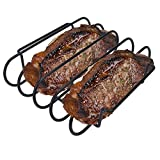KALREDE Rib Rack BBQ - Non-Stick Rib Holder for Grilling 4 Holds - Heavy Duty Black Grill Racks - Outdoor Barbecue Accessories- Fathers Day Gifts