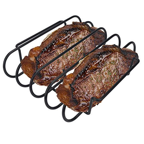 - KALREDE Rib Rack BBQ - Non-Stick Rib Holder for Grilling 4 Holds - Heavy Duty Black Grill Racks - Outdoor Barbecue Accessories