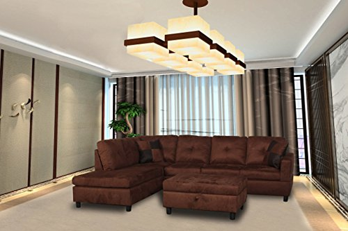 Faux Leather Microfiber Sofa (LifeStyle Microfiber and Faux Leather Right-Facing Sectional Sofa Set with Storage Ottoman, Brown)