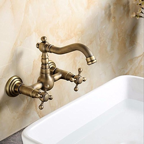 YSRBath Modern Bathroom Sink Mixer Faucet Wash Basin Wall-Mounted Single Hole Cold and Hot Water Double Handle Kitchen Sink Taps Basin Mixer Tap Basin ()