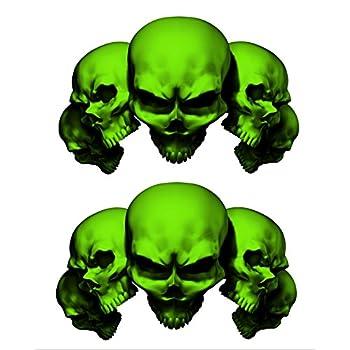 Amazon.com: Juego de 2 pegatina verde 5 5 en de calavera de ...