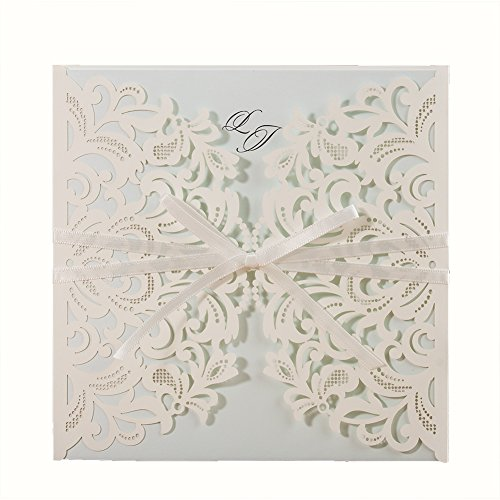 Wishmade 50x Laser Cut Square Invitations Cards Kit for Wedding Party Birthday with Tri-fold Printable Insert Pages AW7015