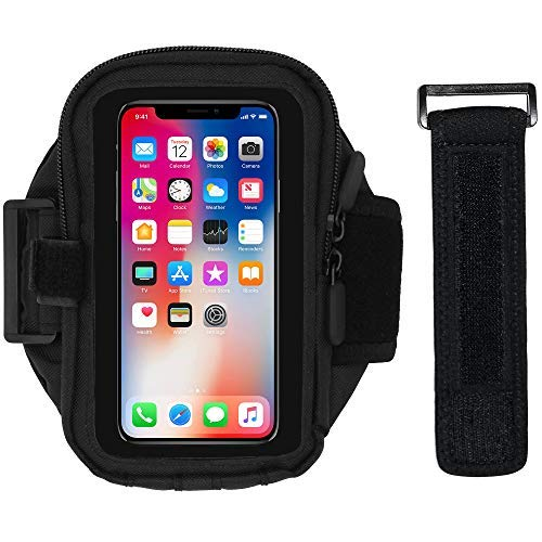 (Cell Phone Armband for Running, Exercise - Workout Phone Holder with Adjustable Arm Band, Zipper Pocket - Universal Armband for iPhone X, 6, 6S, Galaxy S10, S9, S8, S7, S6, Fits Otterbox Case (20 in))