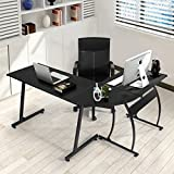Office Desk Coavas L-Shaped Corner Desk Large PC Gaming Desk Computer Desk Workstation Home Office 148x112x74 cm Black