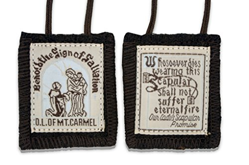 Official Our Lady of Mount Carmel Brown Scapular - 100% Wool! (1-Pack)