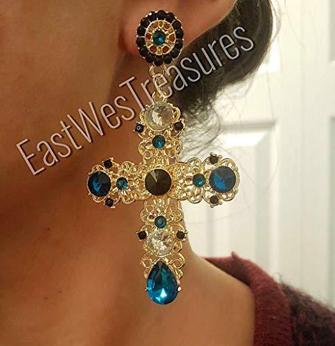 (Large Rhinestones Crystal Aquamarine blue Royal BAROQUE big large Cross drop dangle Statement Earrings)