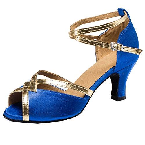 TDA CM106 Damen Knöchelriemen Satin Latin Modern Samba Rumba Hochzeit Tanzschuhe Blau