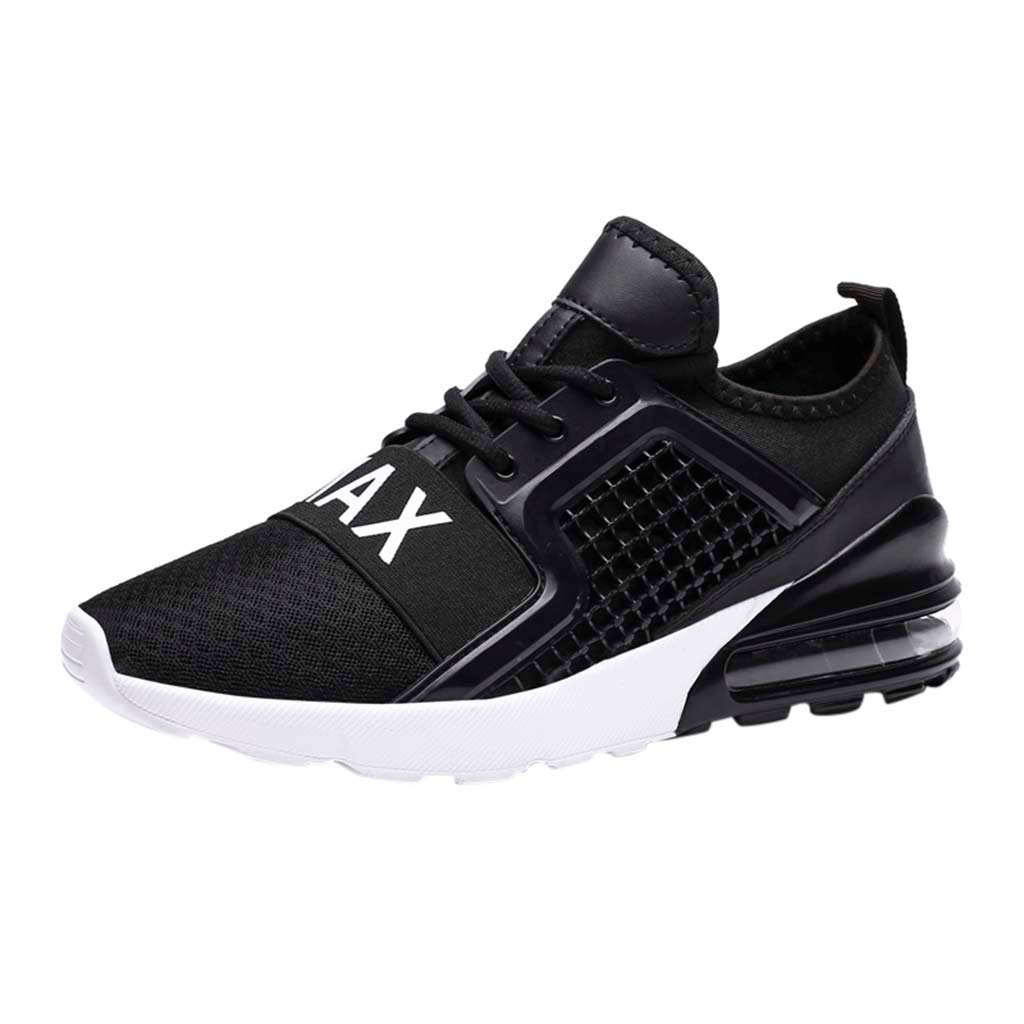 Men's Athletic Sneakers Summer Mesh Breathable Lightweight Shoes Casual Air Cushion Slip On Running Workout Gym Sock Shoe (Black, US:7.5)