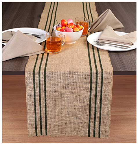 Ramanta Home 2-Pack Rustic Farmhouse Stripe Burlap Jute Table Runners 14x90 Natural with Hunter Green Stripe