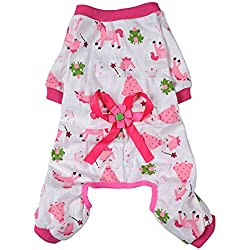 Kocome Cozy Pajamas Dog Clothes Jumpsuit Pet Apparel Puppy Shirt Soft Cat Clothing (M, Pink)