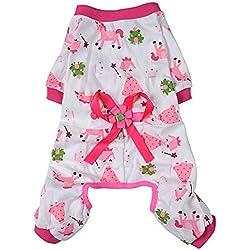 Kocome Cozy Pajamas Dog Clothes Jumpsuit Pet Apparel Puppy Shirt Soft Cat Clothing (S, Pink)