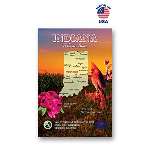 INDIANA MAP postcard set of 20 identical postcards. IN state map post cards. Made in -