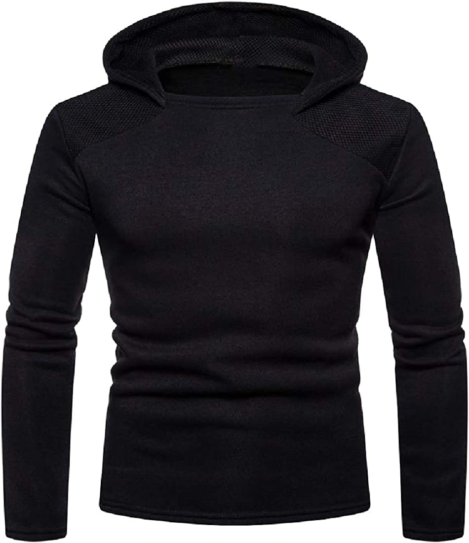 Unastar Mens Solid-Colored Classic Tunic Shirt Athletic Hooded Sweatshirt