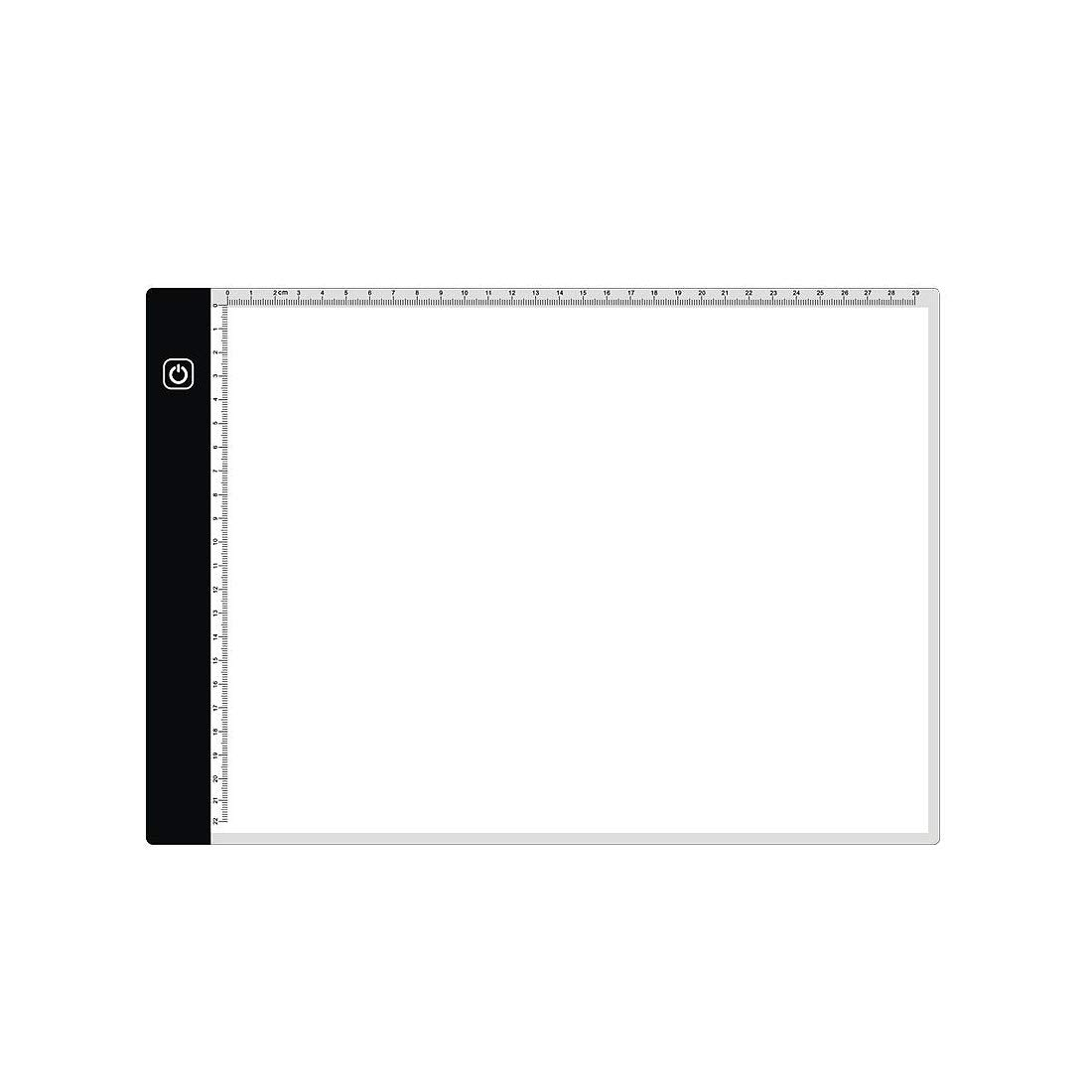 RETYLY A4 Light Box Tracer with Scale Ultra-Thin USB Dimmable Brightness Led Artcraft Tracing Light Pad Light Box for Artists Drawing Sketching Animation 5D Diamond Painting