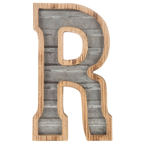 """XXL 14"""" Galvanized Metal and Wood Industrial Home and Business Wall Letters Monogram Letter (R)"""